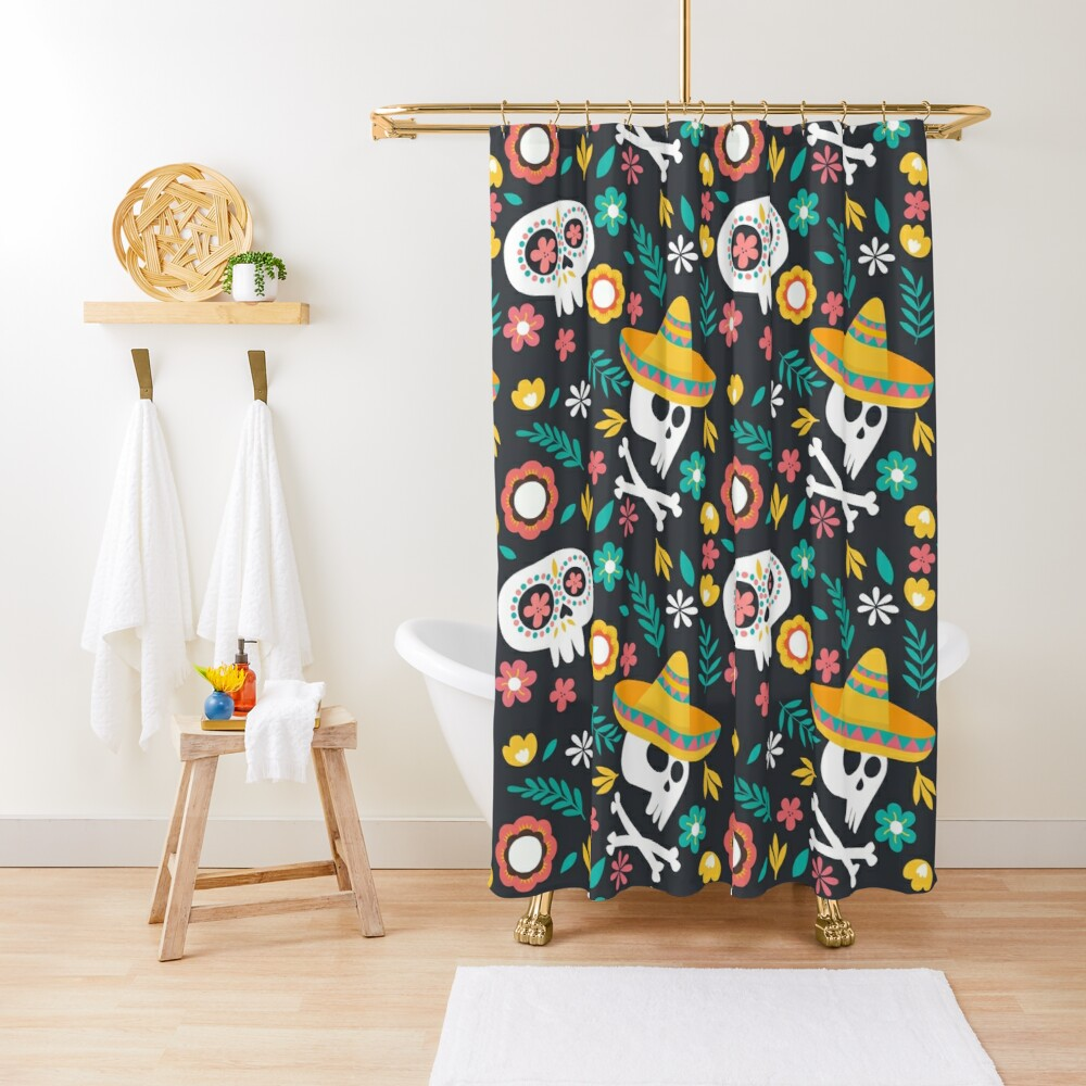Halloween :  Skulls of the Day of the Dead pattern Shower Curtain