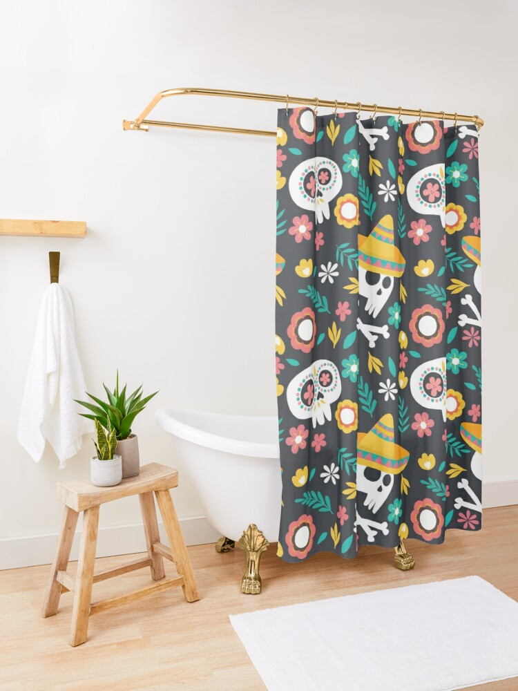 Alternate view of Halloween :  Skulls of the Day of the Dead pattern Shower Curtain