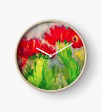 Cactus Flowers Clock