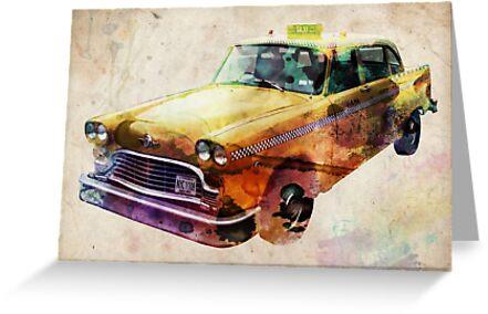 NYC Classic Taxi Urban Art by Michael Tompsett