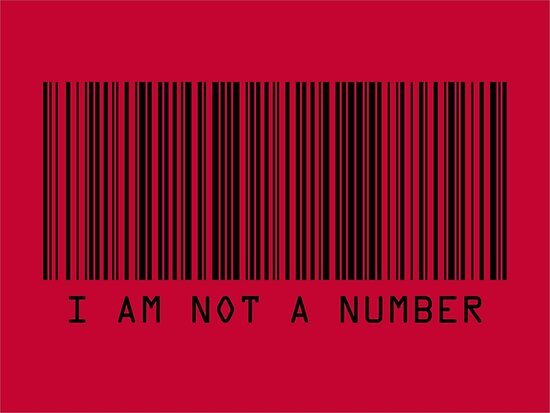 Barcode I Am Not A Number in Red by Michael Tompsett