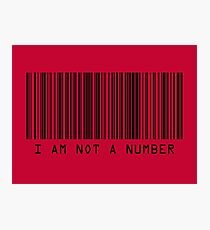 Barcode I Am Not A Number in Red Photographic Print