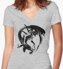 Alien Black & White Women's Fitted V-Neck T-Shirt