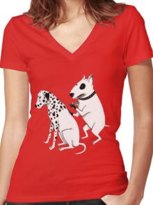 Pittbul tattooing Dalmatian Women's Fitted V-Neck T-Shirt