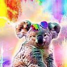 Rainbow Koala Wearing Love Heart Glasses by SkylerJHill