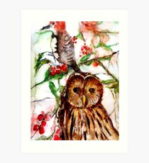 Owl in the Snow Art Print