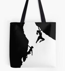 women rock climbing Tote Bag
