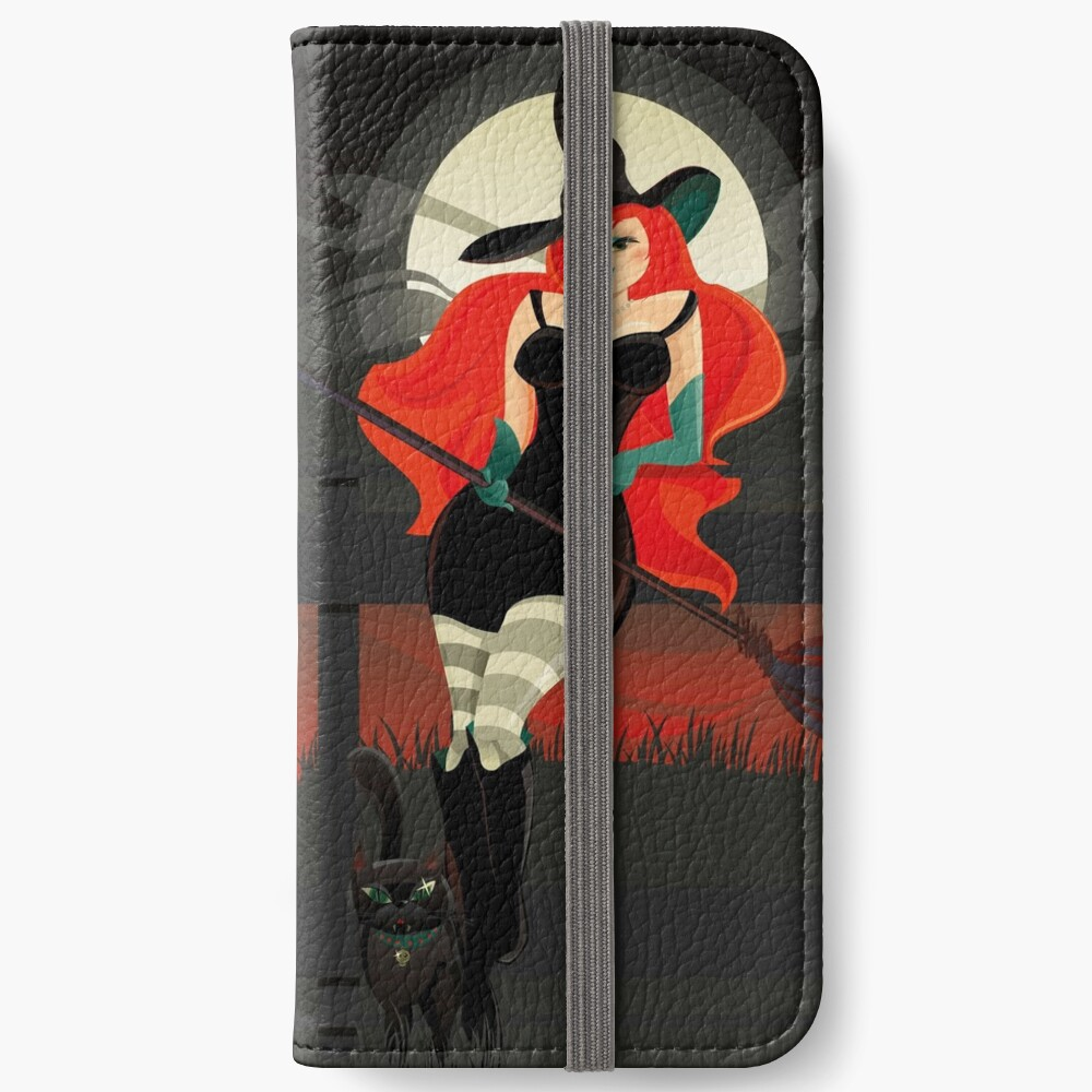 Beautiful Witch with a black Cat iPhone Wallet