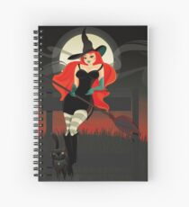 Beautiful Witch with a black Cat Spiral Notebook