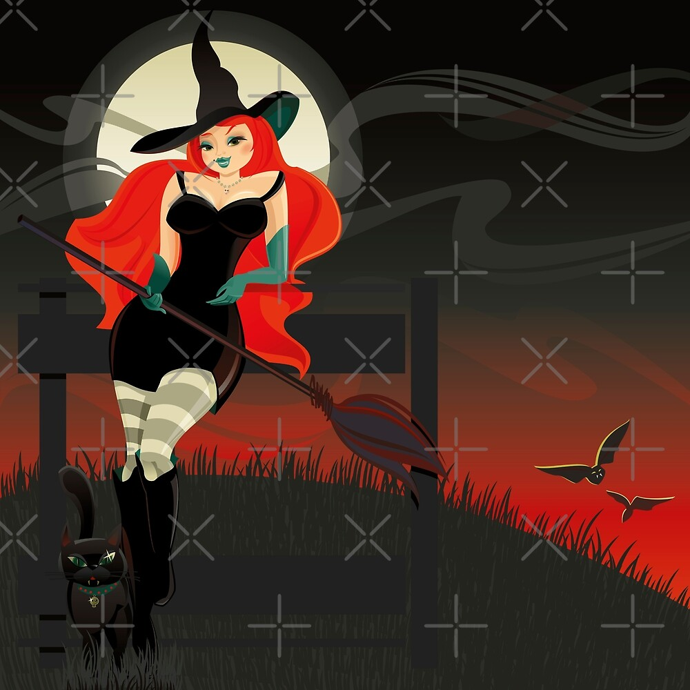 Beautiful Witch with a black Cat by rusanovska