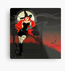 Beautiful Witch with a black Cat Metal Print