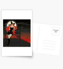 Beautiful Witch with a black Cat Postcards