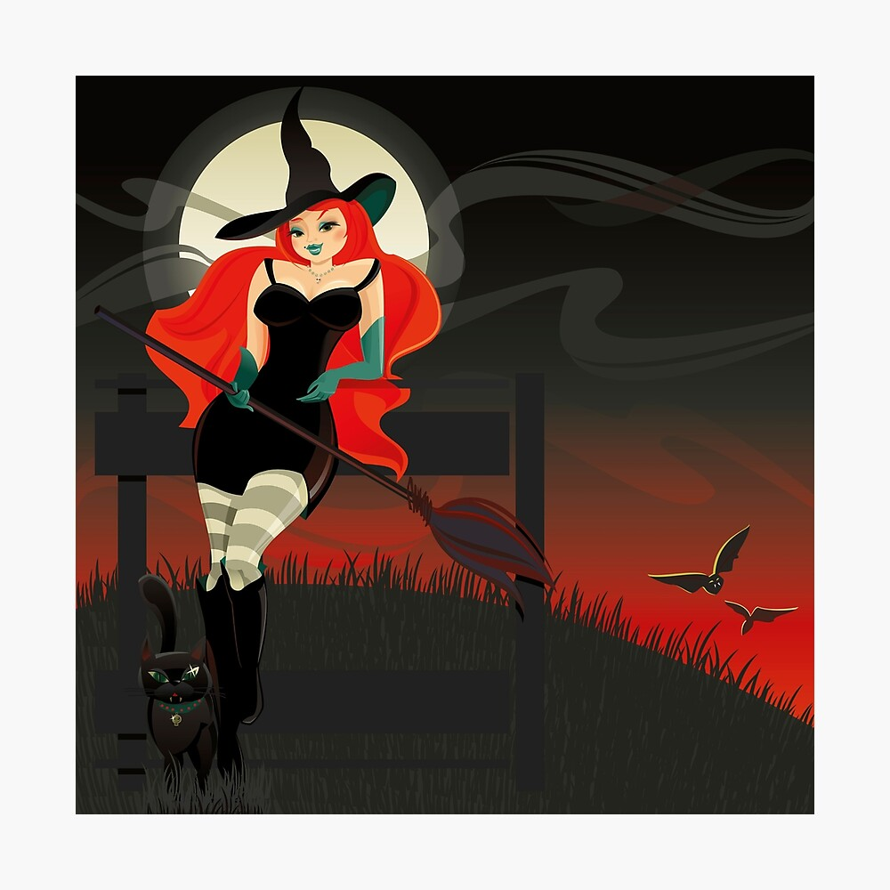 Beautiful Witch with a black Cat Photographic Print