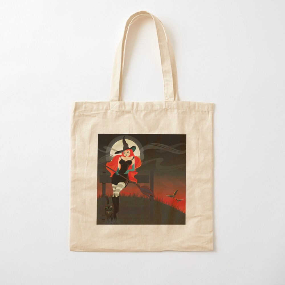 Beautiful Witch with a black Cat Cotton Tote Bag