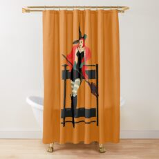 Beautiful Witch with a black Cat Shower Curtain