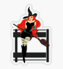 Beautiful Witch with a black Cat Transparent Sticker