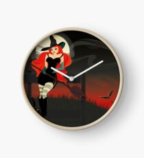 Beautiful Witch with a black Cat Clock
