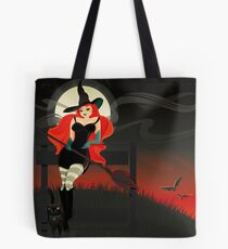 Beautiful Witch with a black Cat Tote Bag