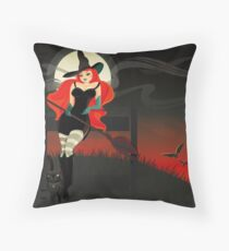 Beautiful Witch with a black Cat Throw Pillow