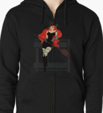 Beautiful Witch with a black Cat Zipped Hoodie
