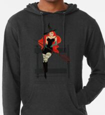 Beautiful Witch with a black Cat Lightweight Hoodie