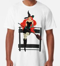 Beautiful Witch with a black Cat Long T-Shirt
