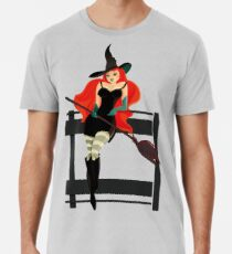Beautiful Witch with a black Cat Premium T-Shirt