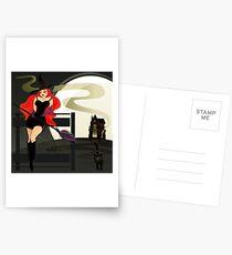Pretty Witch. Halloween night. Postcards