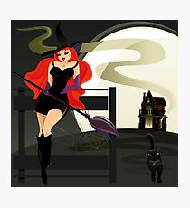 Pretty Witch. Halloween night. Photographic Print