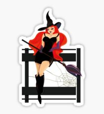 Pretty Witch. Halloween night. Glossy Sticker