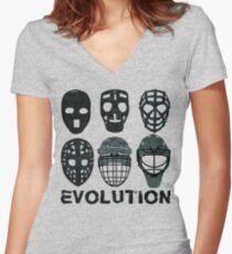 Hockey Goalie Mask Evolution. Women's Fitted V-Neck T-Shirt