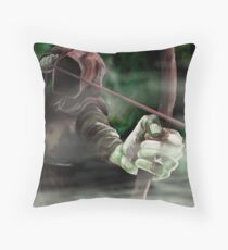 Robin the Hooded Man - Sherwood Forest, Robin Hood, Archer, Nottingham Throw Pillow