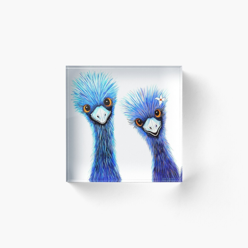 Quirky Emus Acrylic Block