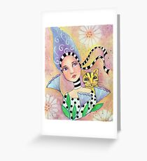 Whimiscal girl with cat Greeting Card