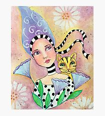 Whimiscal girl with cat Photographic Print