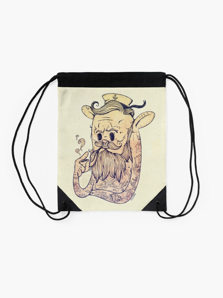 Alternate view of Hello Sailor!! Drawstring Bag