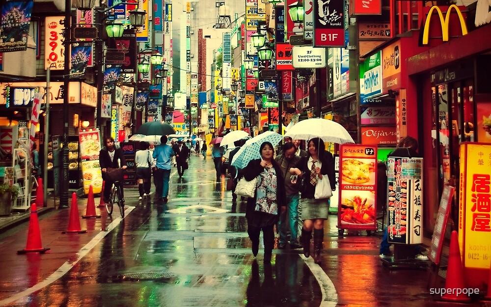 Kichijoji Backroad in the Rain by superpope