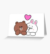 Brown bear and Cony in love Greeting Card