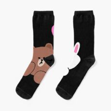 Brown bear and Cony in love Socks