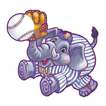 Wild Animal League Elephant Baseball  de ImagineThatNYC