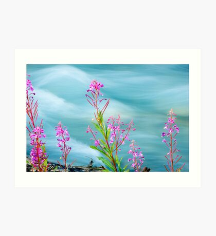 Fireweed and Stream Art Print
