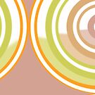 Muted Pastel Pinky Brown, Green and Orange New System Three Circular Abstract Design by Jenny Meehan by Jenny Meehan