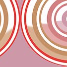 New System Five Pastel Muted Pink, Red, White, and Brown Circular Abstract Design by Jenny Meehan by Jenny Meehan