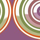 New System Nine Purple, Green and Red Bolder Circular Abstract Design by Jenny Meehan by Jenny Meehan