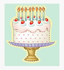 Birthday Cake with Candle Photographic Print