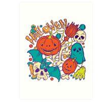 Halloween design with wicth stuff Art Print