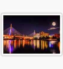 Moon light over Zakim bridge Sticker
