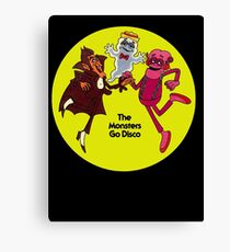 Saturday Morning Disco Dancing Cereal Monsters Canvas Print