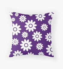 Purple Fun daisy style flower pattern Throw Pillow