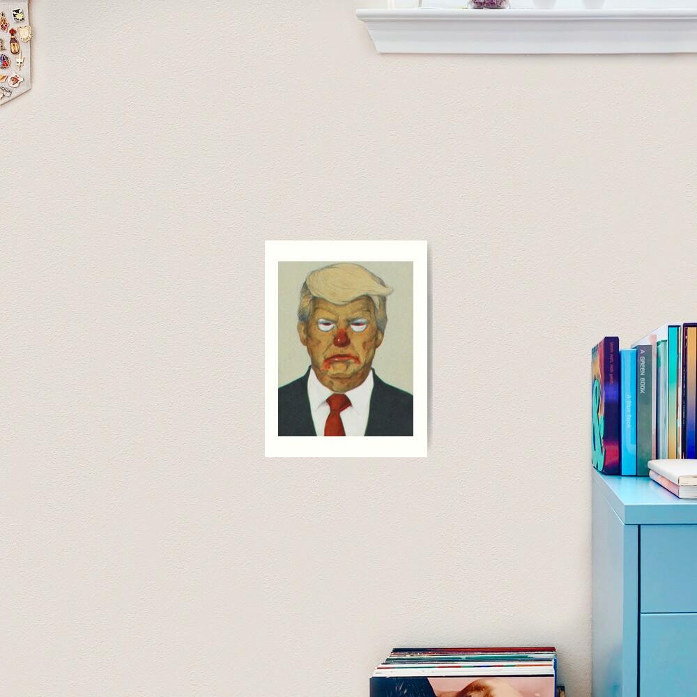 Loud Clown Trump Portrait   Digitally Manipulated Graphite Drawing Art Print